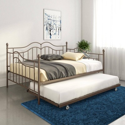 Full Traci Metal Daybed And Trundle Bronze Room Joy Daybed