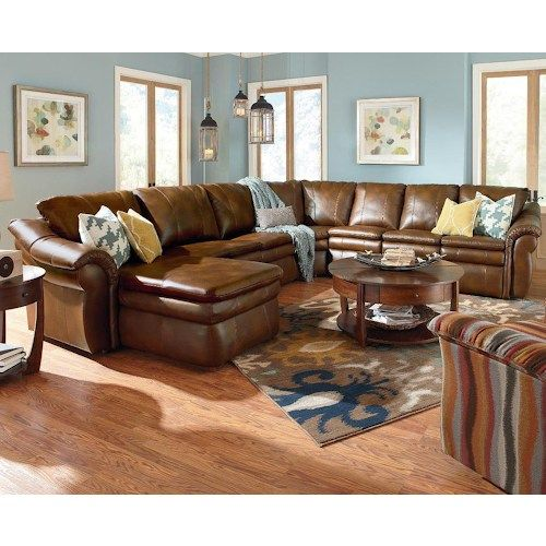 LaZBoy Devon 5 Piece Sectional with RAS Chaise and 2 Recliners