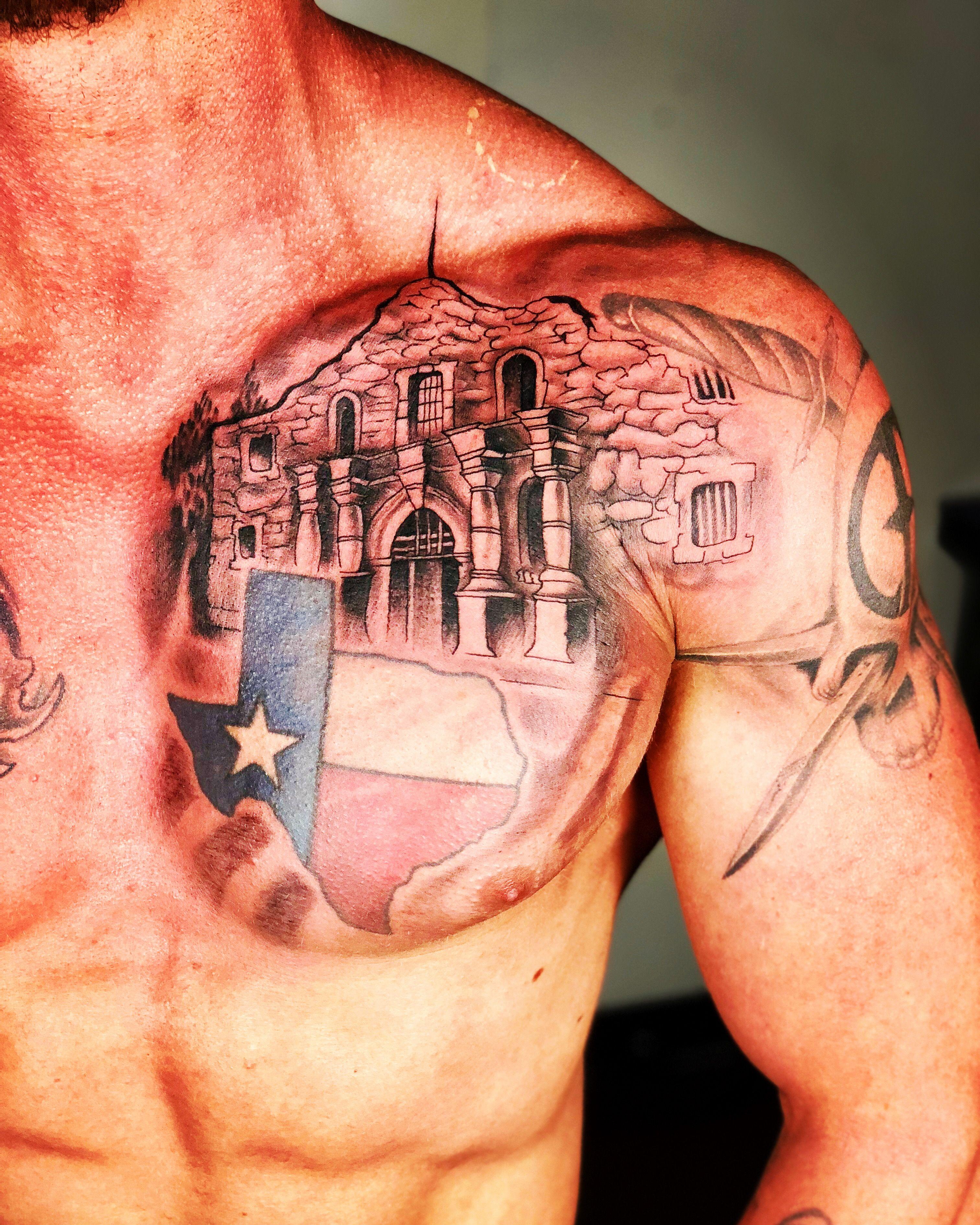 Texas Tattoo Designs : texas, tattoo, designs, Texas, Alamo, Tattoo, Cowboy, Tattoos,, Chest