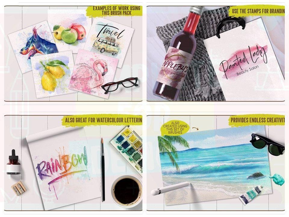 Mega watercolour brushes pack for procreate watercolour