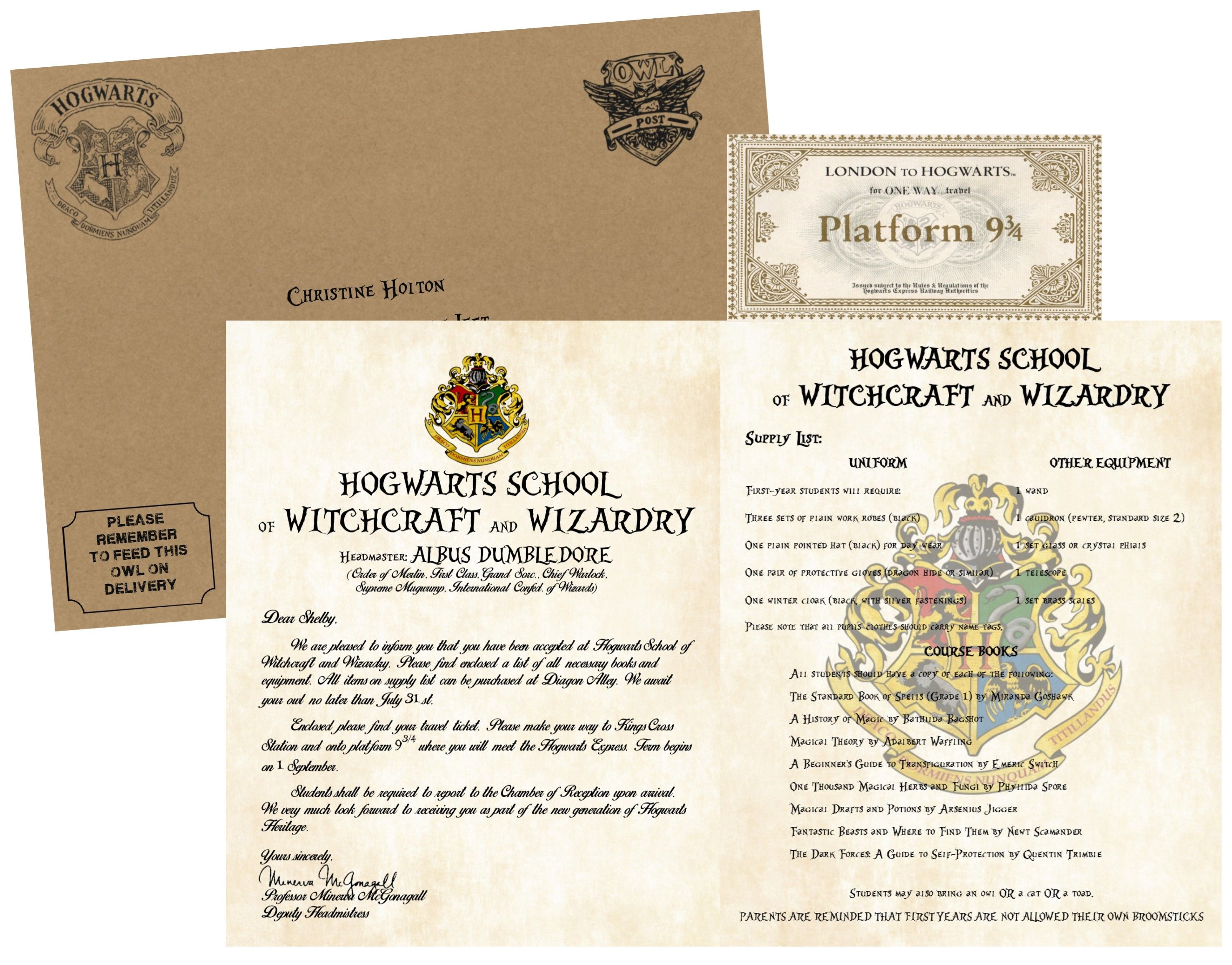 Personalized Harry Potter Acceptance Letter with Envelope