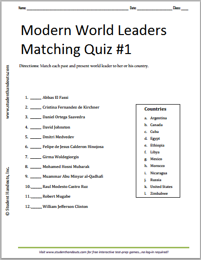 photo regarding Leadership Quiz Printable called Impressive Worldwide Leaders Printable Matching Quiz #1 Cost-free towards