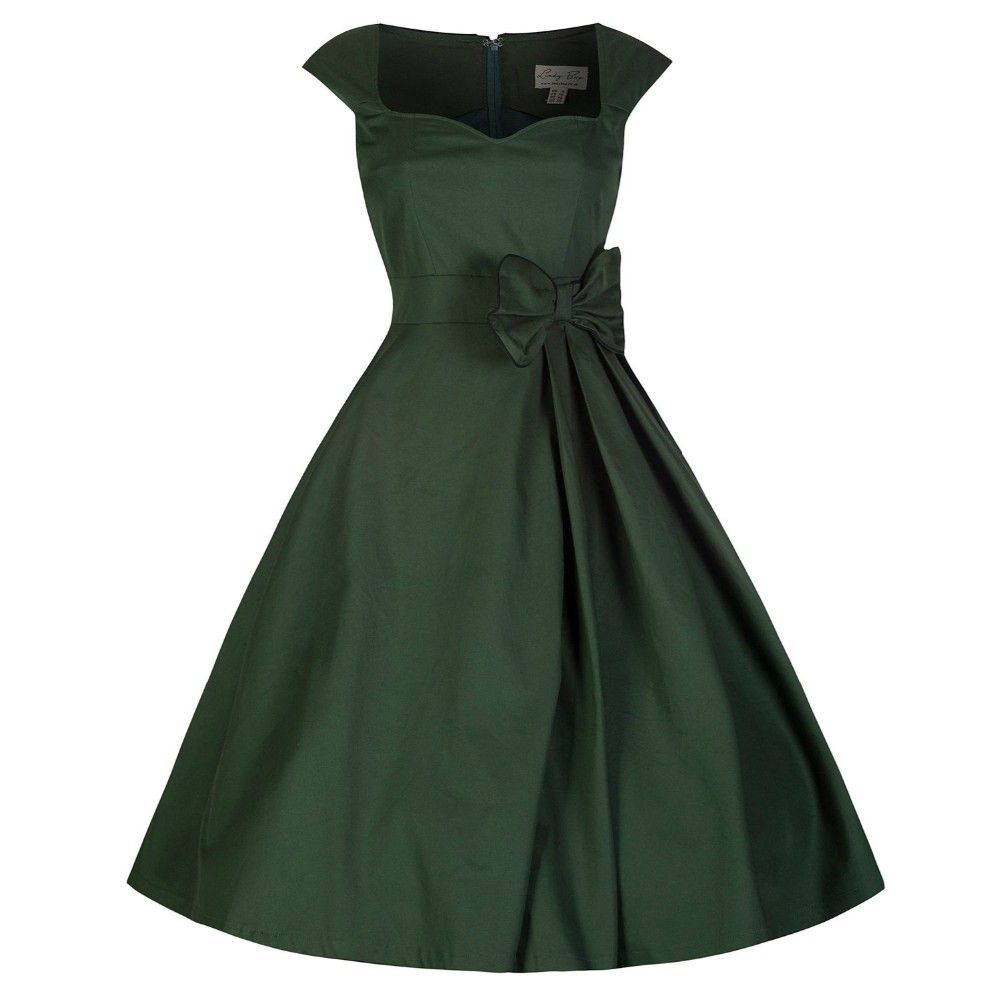 Audrey Hepburn Vintage Solid Waist Bow Swing Cotton Dress Seasons