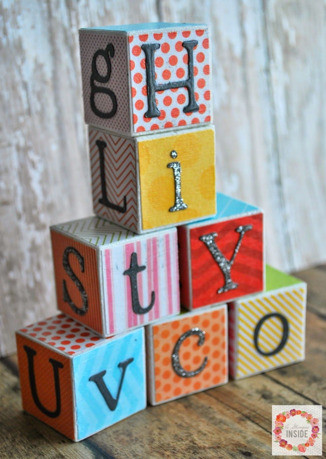 DIY Alphabet Block have different letters attached to each side, primarily on perfect cubes