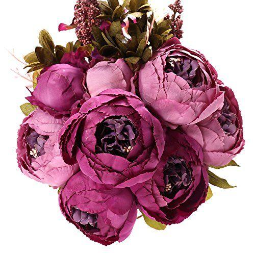 Nice Fake Artificial Flowers Vintage Silk Peony Bouquet