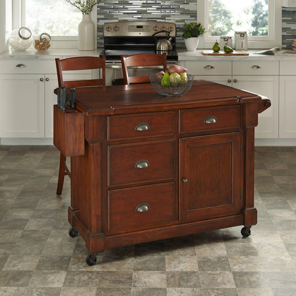 Home Styles The Aspen Rustic Cherry Kitchen Cart With Stools 5520 958 Kitchen Cart Kitchen Island Cart Kitchen