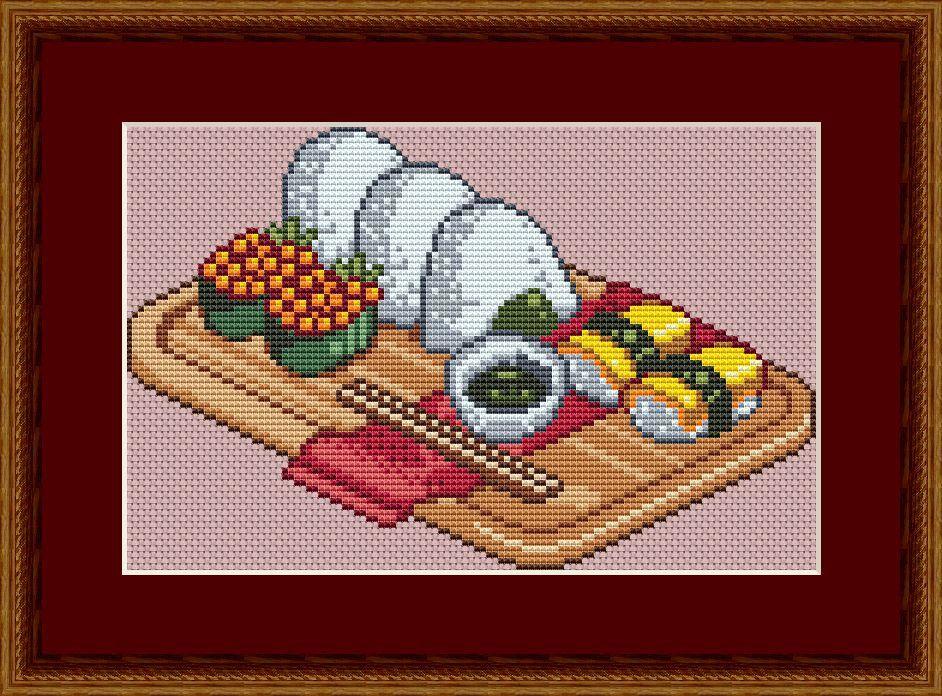Sushi Cross Stitch Pattern, PDF, Anime Cross Stitch, Japan