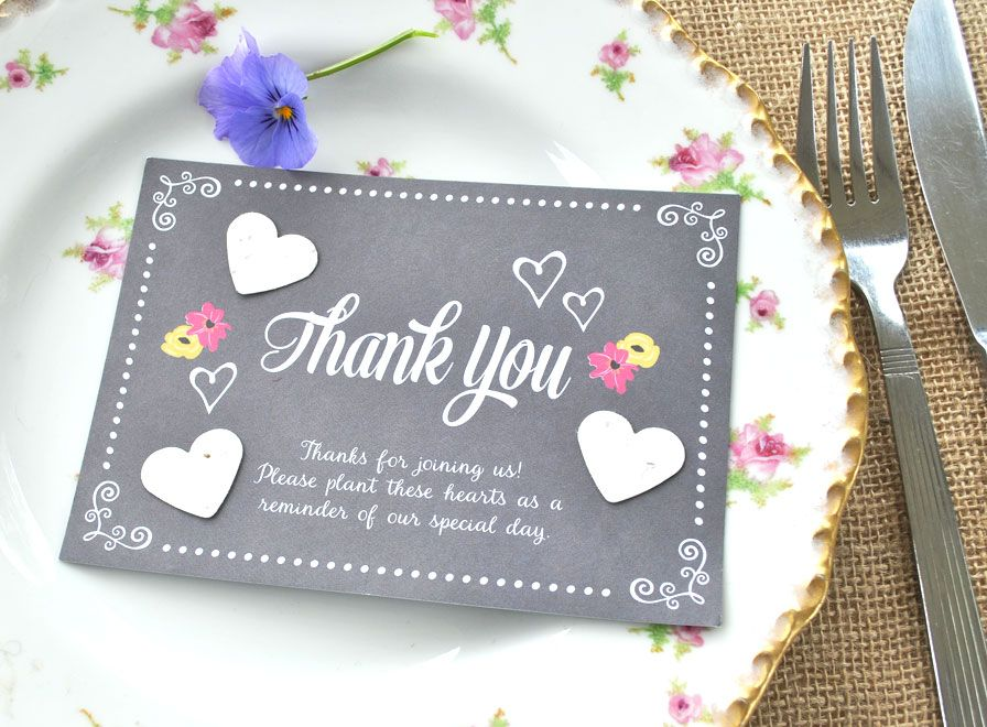 A6 Size Recycled Chalkboard Wedding Favour With Three Recycled Seed
