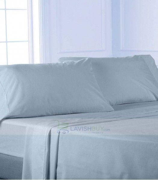 Light Blue Queen Egyptian Cotton Sheet Set 1000 Thread Count