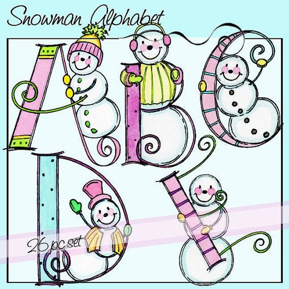 Snowman Alphabet  Personal and Limited Commercial Use by atelieroz