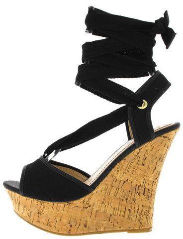 e6d0260d4f9 Pamela78 black lace-up ankle tie wedge