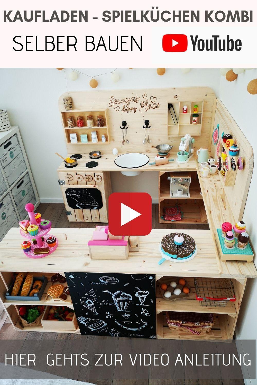 Kaufladen aus Holz - Kaufmannsladen bauen - Spielküche DIY- Kinderküche DIY- Obstkisten Möbel -