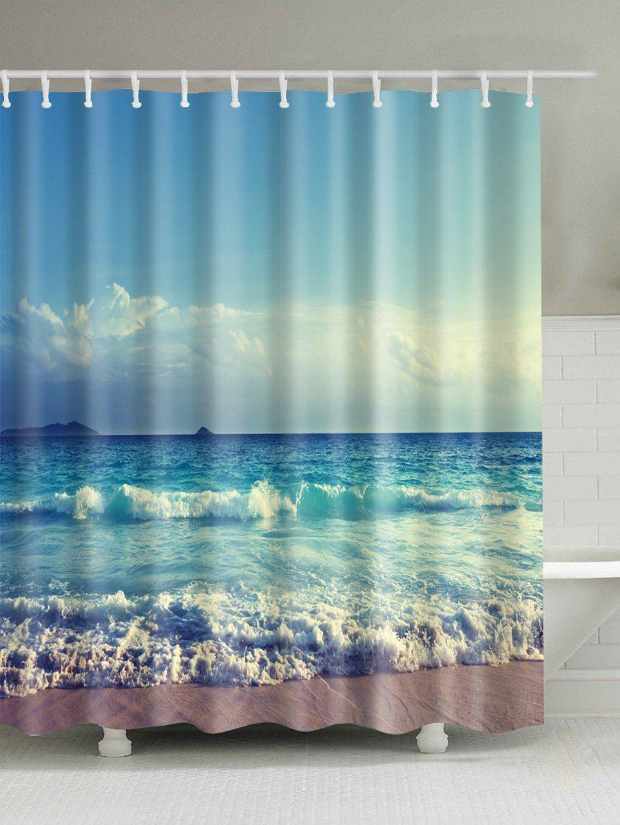 Ocean Print Waterproof Bath Shower Curtain Ocean Shower Curtain