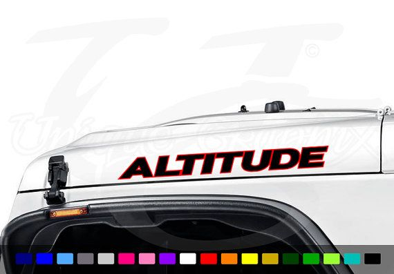 Jeep Wrangler Altitude Hood Decal Set 1 Pair Decal Size 22