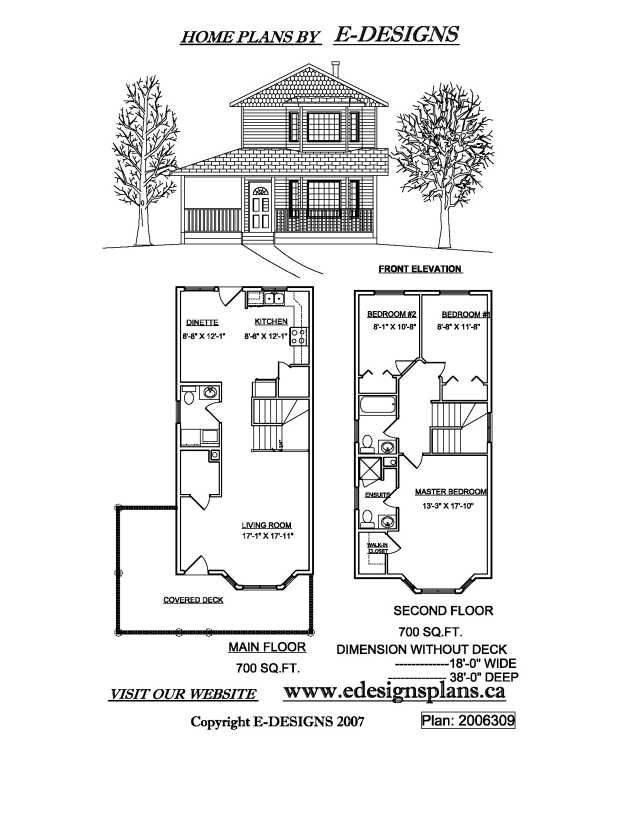 2006309 Front Main Sec Small Jpg 640 828 Narrow Lot House Plans Tiny House Plans Free Narrow Lot House