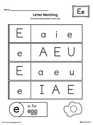 Letter E Uppercase And Lowercase Matching Worksheet Letter E Worksheets Letter Matching Worksheet Lettering Alphabet Preschool letter matching worksheet
