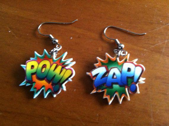 shrinky dink earrings | Comic Book Words Shrinky Dink Earrings