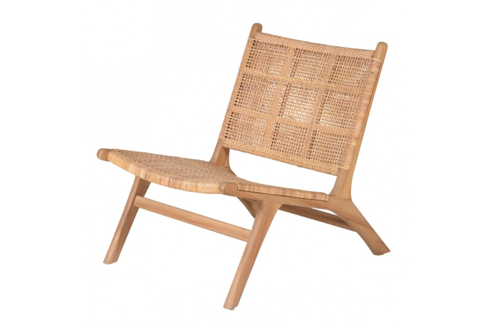 Fauteuil En Teck Et Canne De Rotin Tressee Wasi Zago Store In 2020 Lounge Chair Outdoor Outdoor Lounge Chair