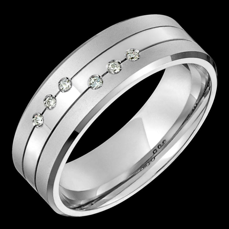 7mm Wide Comfort Fit 10k White Gold Solid Not Plated Diamond Etsy In 2020 White Gold Diamond Wedding Bands Gold Diamond Wedding Band