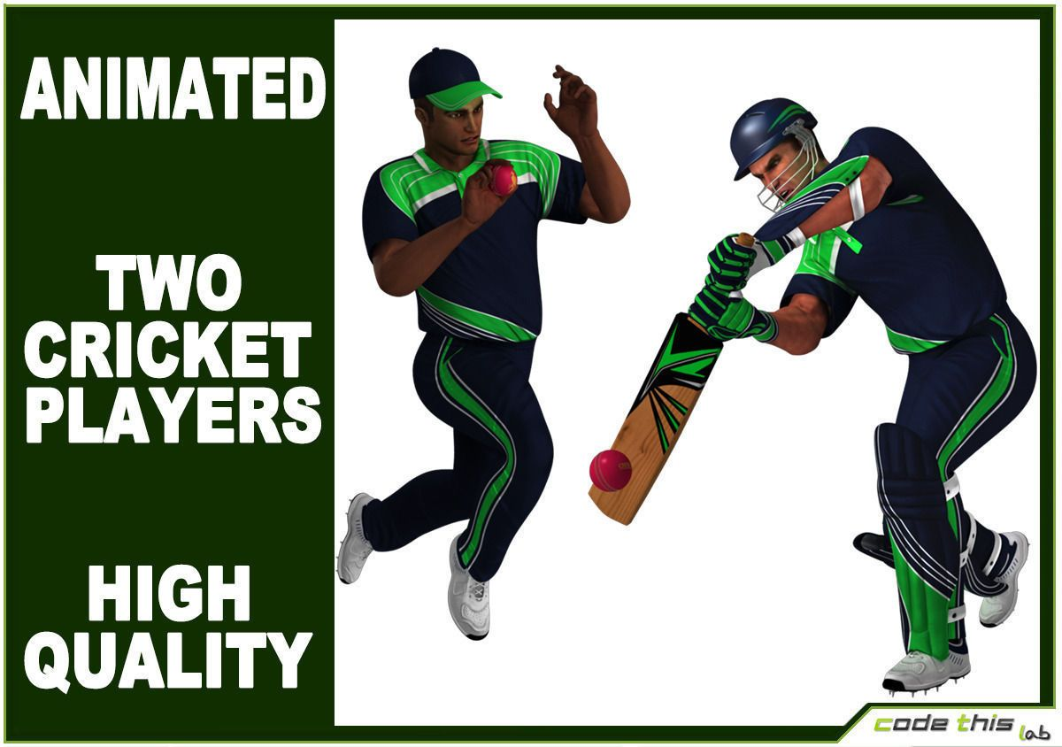 Cricket Batter and Bowler CG by codethislab. High poly 3d
