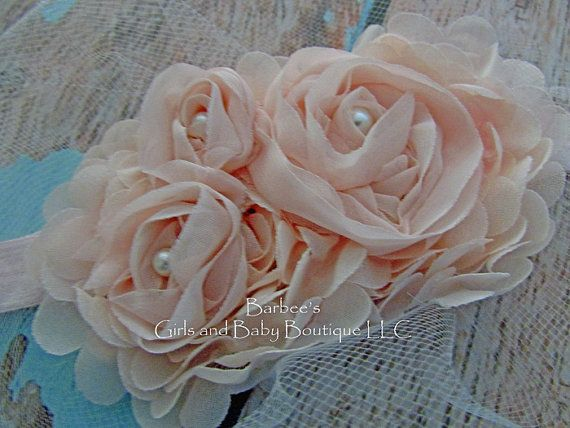 Blush Pink Ivory or White Chiffon Flower by BarbeesGirlsandBaby