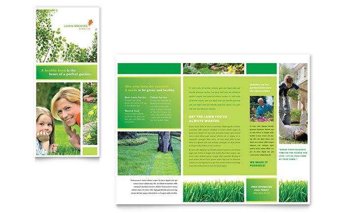 Lawn Mowing Service Brochure Design Template By Stocklayouts