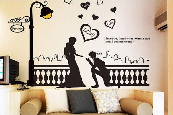 Romantic Propose Wall Sticker Headboard Wall Decal Wall Stickers
