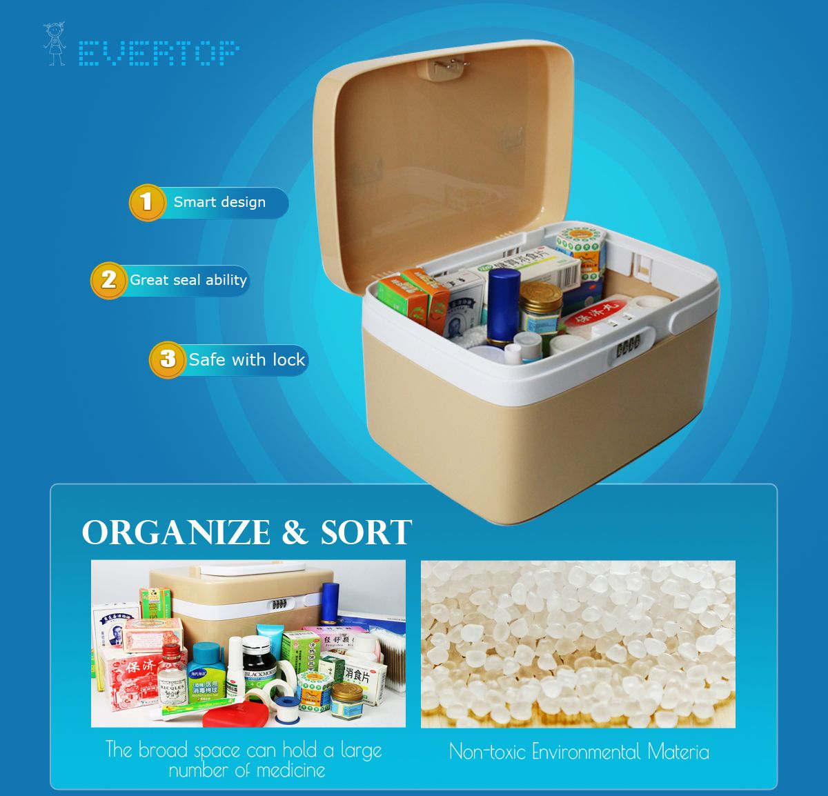 Coded Lock Storage Box Household Medicine Cabinet First Aid Case Multifunctional Storage Container With Compartments Locked Storage Storage Containers Storage
