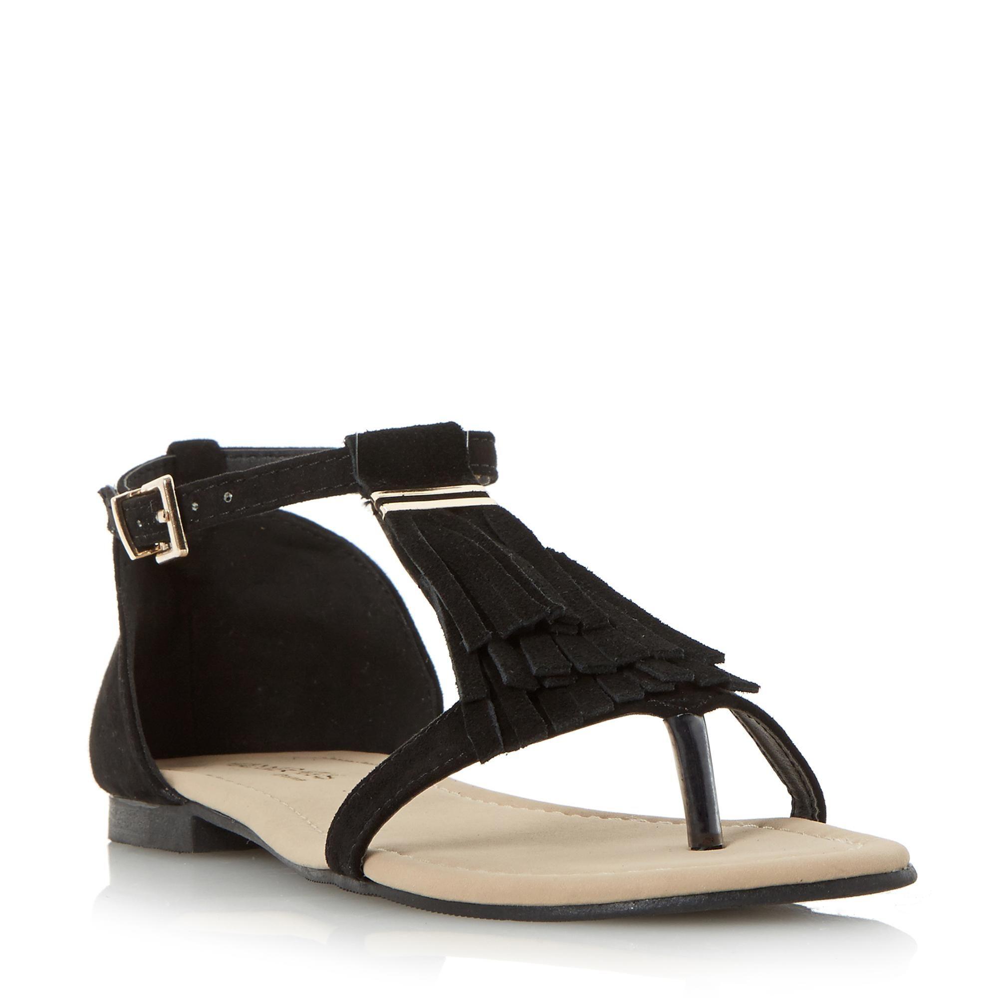1eca6a8d023 Head Over Heels Ladies LAILAH - Fringe Toe Post Flat Sandal - black£25.00