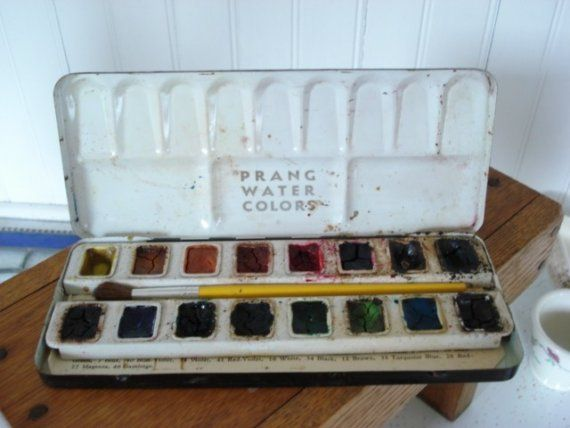 Vintage Prang Watercolor Tin Set Prang Watercolors Painted