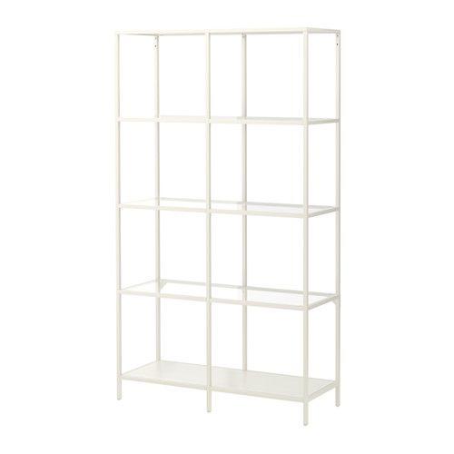 VITTSJÖ Reol, hvid, glas hvid/glas 100x175 cm