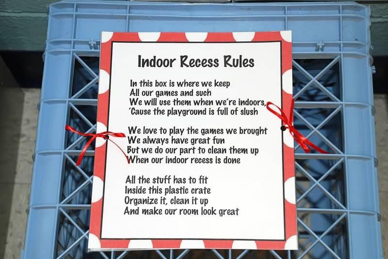 Indoor recess rules