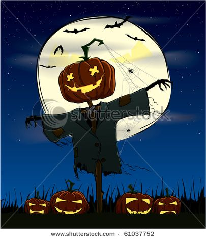 Spooky Halloween scene with a Jack 'O Lantern scarecrow, full moon ...