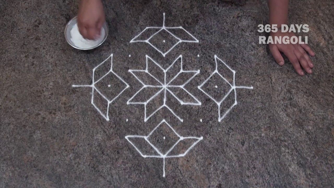 easy rangoli design /simple rangoli design for beginners