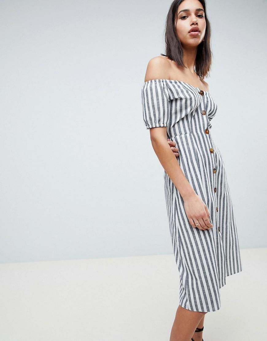 DESIGN Button Through Casual Midi Sundress In Stripe - Multi Asos HmbNm