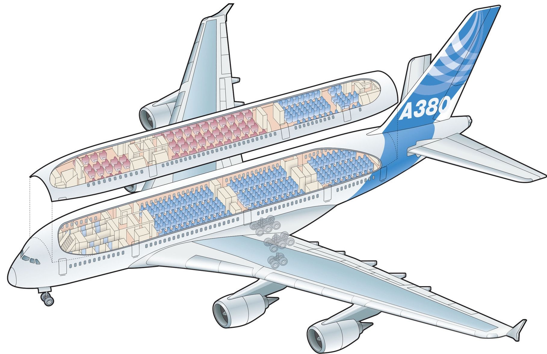 A Cutaway Of The Airbus A380  Illustration Created By