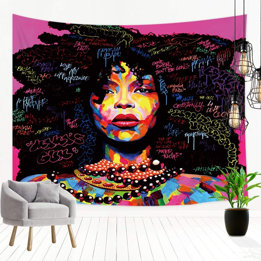 Amazon Com Jawo Afro Black Girl Tapestry Wall Hanging Watercolor Graffiti African American Women Girl Tapestries Polyester Fabric La Street Art Art Tapestry