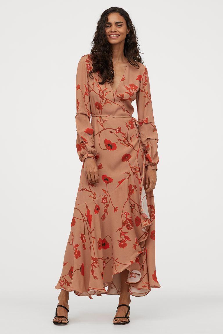 Kopertowa sukienka z krepy - Beżowy/Maki - ONA  H&M PL in 10