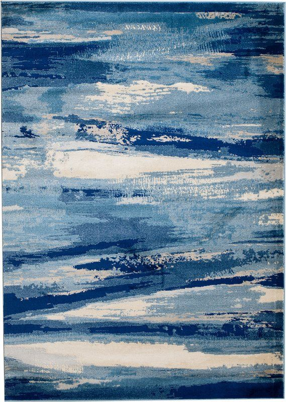 Sawyer Abstract Navy Blue Sky Blue White Area Rug Blue Wallpapers Blue Aesthetic Blue Ocean