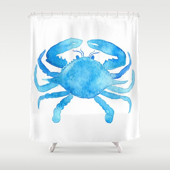 Buy Shower Curtains Featuring Blue Crab By Creeativecass Made