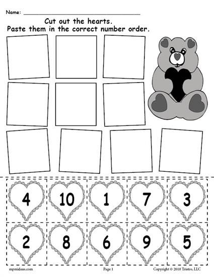 FREE Printable Valentine\'s Day Hearts Number Ordering Worksheet ...