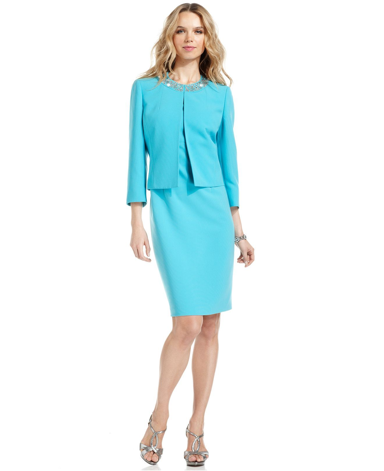 Kasper Three Quarter Sleeve Beaded Jacket Sheath Dress Suits