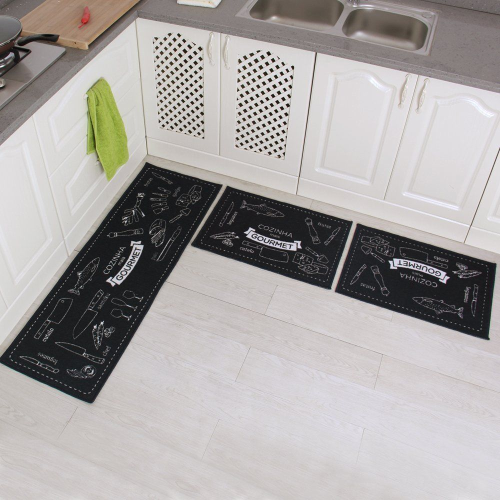 Carvapet 3 Piece Non Slip Kitchen Mat Rubber Backing Doormat