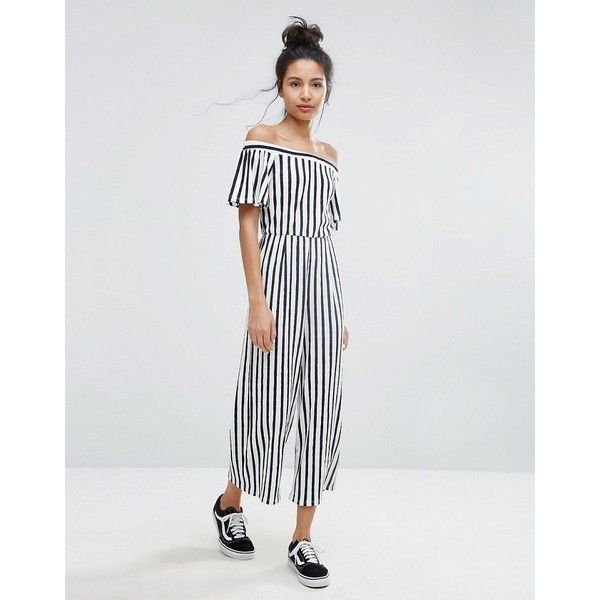 cecf7984510e Bershka Wide Leg Striped Culotte Jumpsuit ( 34) ❤ liked on Polyvore  featuring jumpsuits