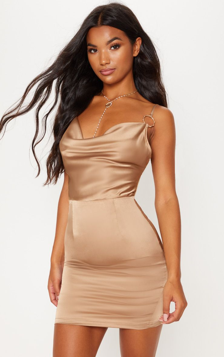 8691ab4c The Champagne Satin Cowl Neck Bodycon Dress. Head online and shop this  season's range of dresses at PrettyLittleThing. Express delivery available.
