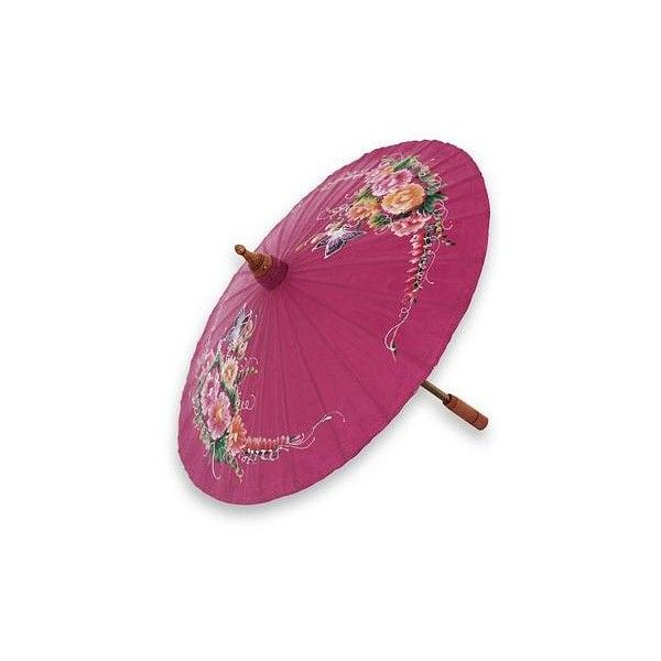 NOVICA Pink Hand Painted Cotton Thai Parasol With Bamboo Frame ($25) ❤  Liked On Polyvore Featuring Home, Home Decor, Umbrella, Decor Accessories,  ...