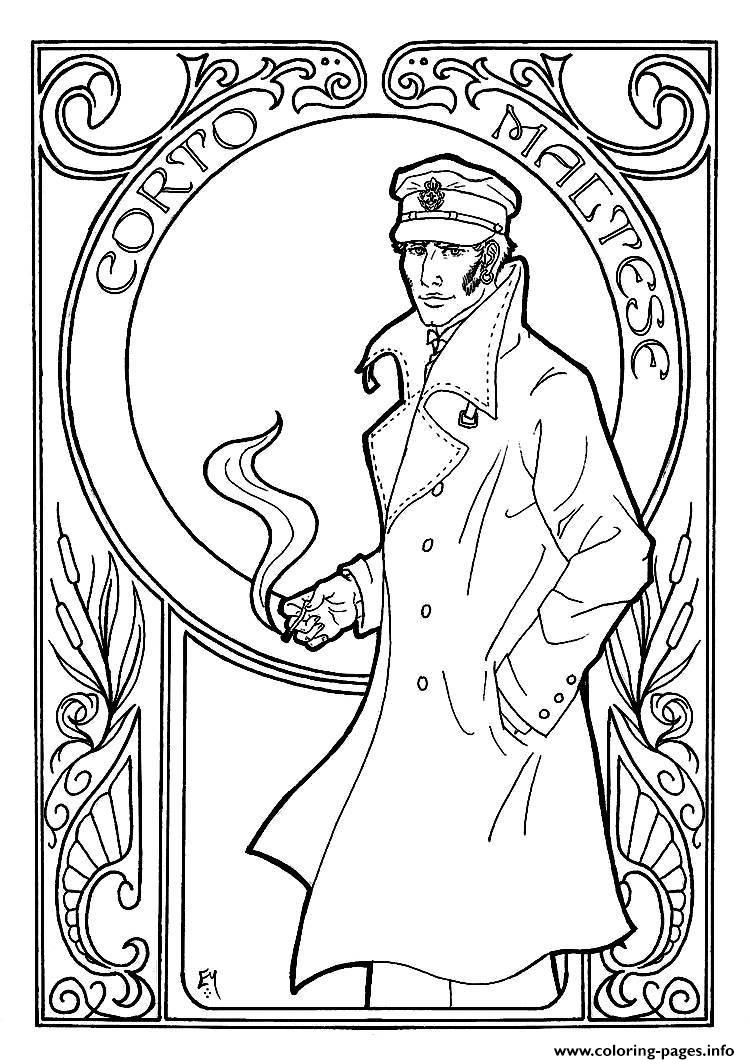 Print adult corto maltese art nouveau coloring pages | 3rd my ...