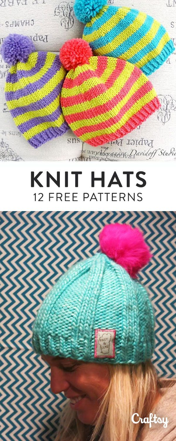 10 FREE Knitted Hat Patterns | Gorros, Turbantes y Gaby