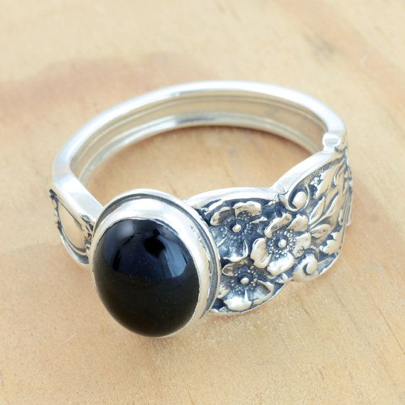 Spoon Ring with Black Onyx Upcycled Sterling by metalsmitten, $75.00