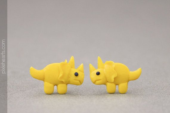 Triceratops dinosaur earrings cute stud earrings unique polymer clay jewelry
